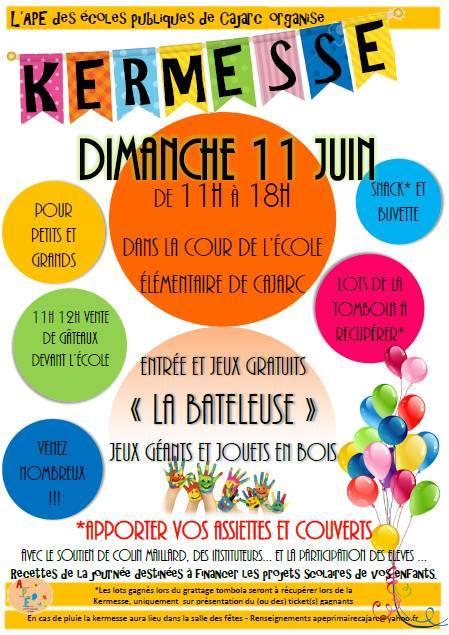 Kermesse de l'APE des écoles publiques de Cajarc – Dimanche 11 juin 2017