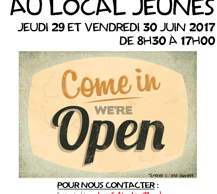 Portes ouvertes au Local Jeunes – 29 et 30 juin 2017