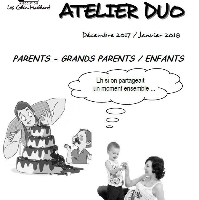 Programme Atelier Duo Décembre 2017 – Janvier 2018