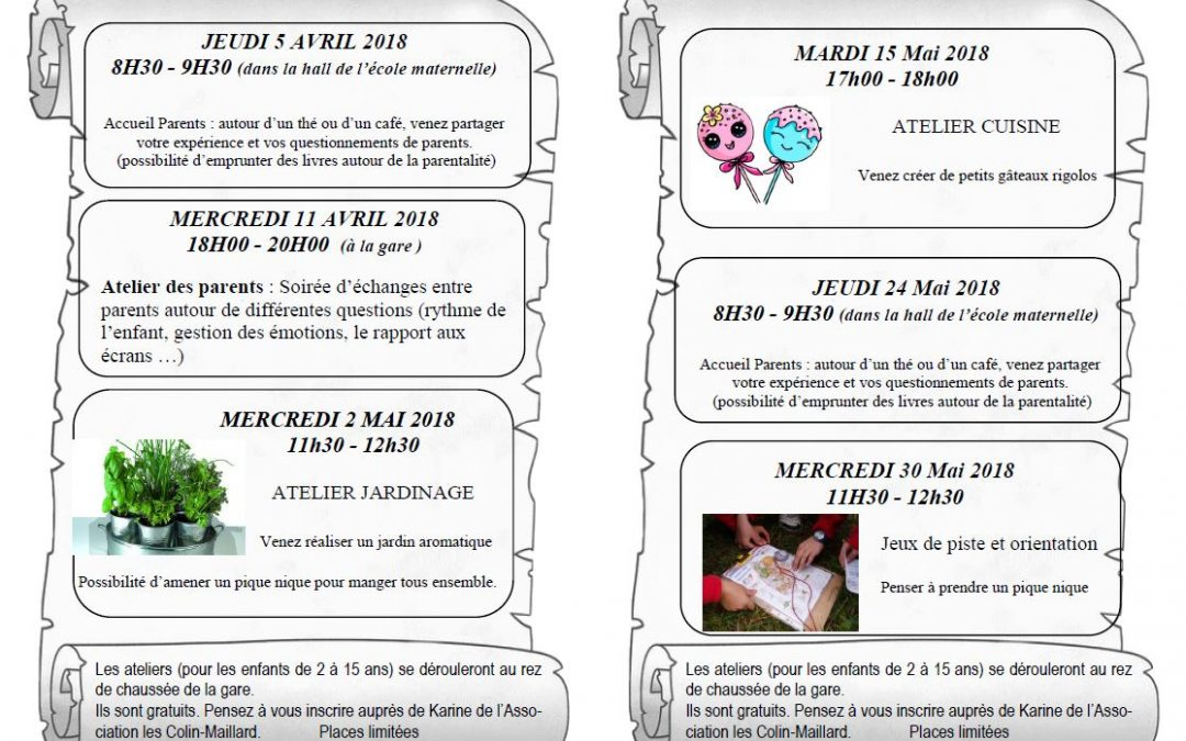 Programme Ateliers Duo – Avril Mai 2018