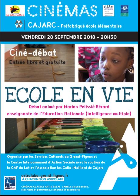 Ciné-débat «Ecole en vie» le 28 Septembre à Cajarc