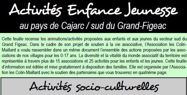 Activités sportives et culturelles de Cajarc 2018/2019
