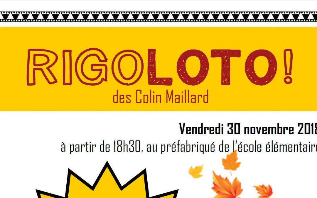 RIGOLOTO ! Le vendredi 30 Novembre à 18h30 à l'école élémentaire