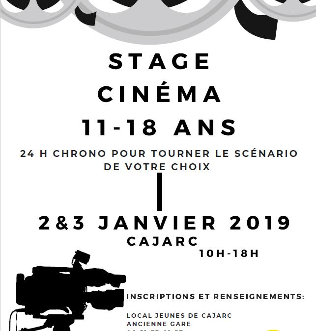 Stage Cinéma Vacances de Noel 2019 – Inscriptions