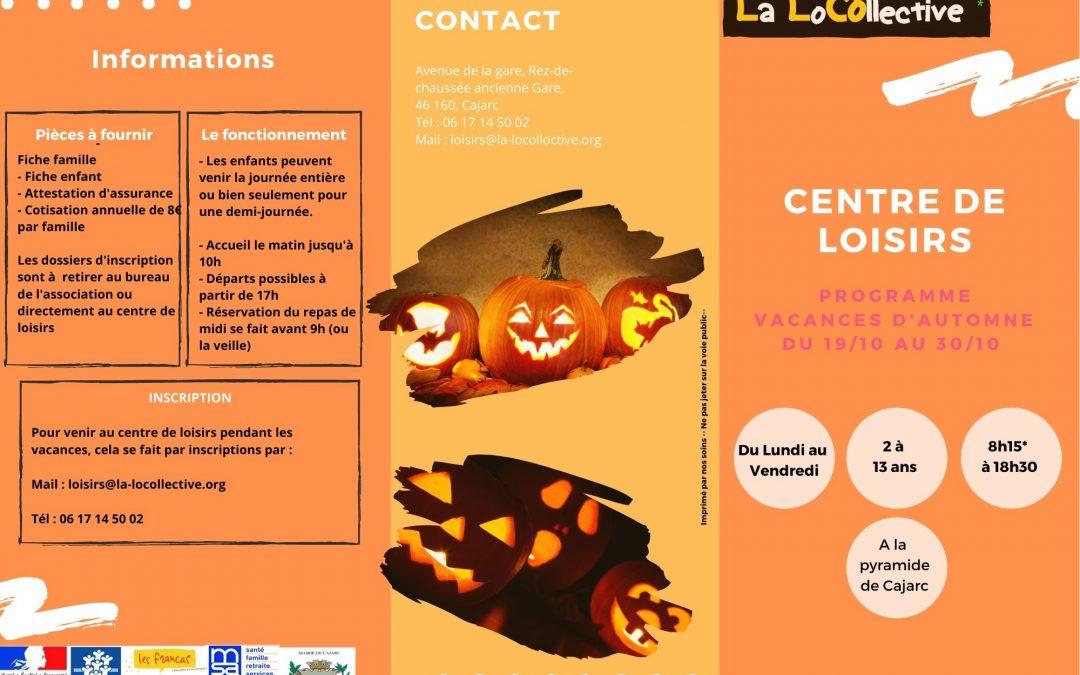 Programme centre de loisirs – Vacances automne 2020